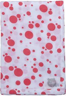 Cobertor Poás - Branco & Salmão- 120X120Cm - Zipbicho Molhado