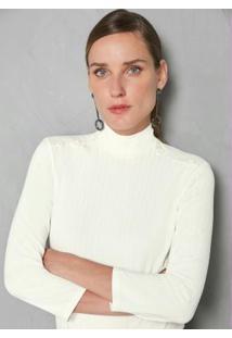 Blusa Off White Canelada Com Botões