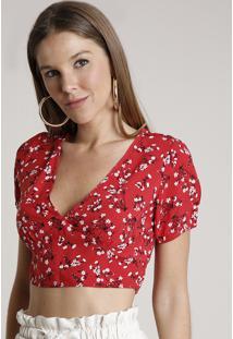 Blusa Feminina Cropped Estampada Floral Com Abertura Manga Curta Decote V Vermelha