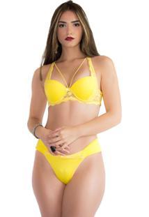 Conjunto Imi Lingerie Lingerie Strappy Bra Com Bojo Microfibra Lizia Amarelo