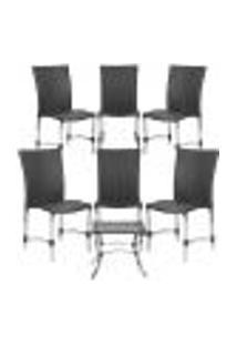 Jogo Cadeiras 6Un E Mesa De Centro Florida Para Edicula Jardim Area Varanda Descanso - Preto