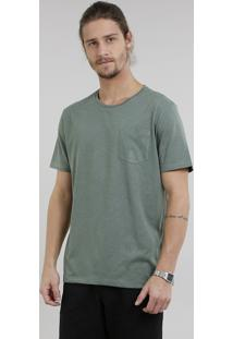 Camiseta Masculina Básica Mescla Manga Curta Gola Careca Verde Militar