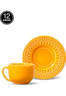 Conjunto 12Pçs Xícaras De Chá Porto Brasil Pérgamo Amarelo