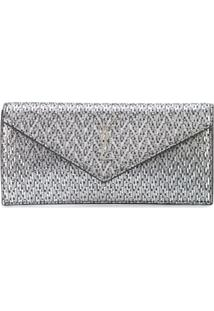 Saint Laurent Clutch Mini De Camurça - Preto