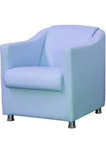 Poltrona Decorativa Para Sala E Escritã³Rio Laura L02 Corino Azul - Lyam Decor - Azul - Dafiti