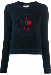 Moncler Suéter Oversized De Tricô Com Logo - Azul