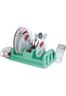 Escorredor De Pratos De Plástico Compacto Rattan Cor Verde