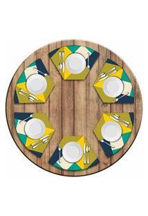 Jogo Americano Love Decor Para Mesa Redonda Wevans Abstract Yellow Kit Com 6 Pçs