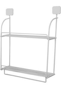 Prateleira Com Porta Toalha- Branca- 50X41X12Cm-Metaltru