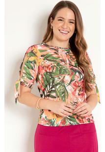Blusa Com Fenda Floral Vermelho Moda Evangélica