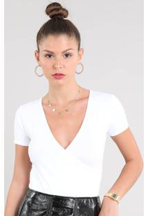 Blusa Feminina Cropped Transpassada Com Franzido Manga Curta Decote V Off White