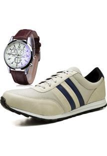Sapatênis Sapato Casual Com Relógio Juilli Com Cadarço 01M Nude