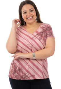 Blusa Com Estampa E Decote V Rosa Cativa Mais