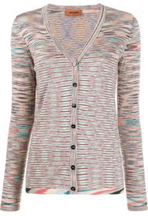 Missoni V-Neck Striped Cardigan - Rosa