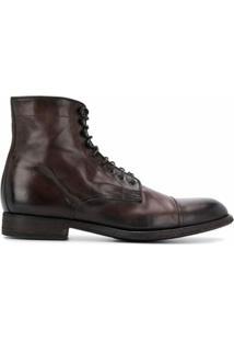Pantanetti Ankle Boot Com Cadarço - Marrom