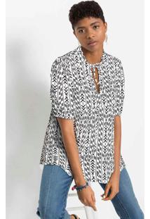 Blusa Com Decote Gota E Amarração Branca/Preta