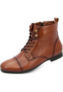 Bota Ankle Boot Dhatz Sem Salto Com Cadarço Whisky