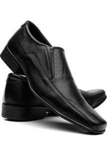 Sapato Social Fran Garcia Couro Liso Masculino - Masculino-Preto