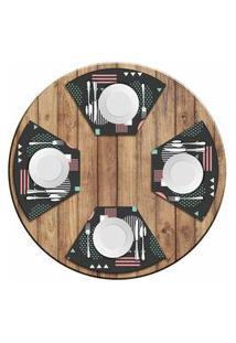 Jogo Americano Love Decor Para Mesa Redonda Wevans Abstract Circulos Kit Com 4 Pçs