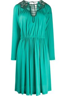 Alberta Ferretti Vestido Com Laço Na Gola - Verde