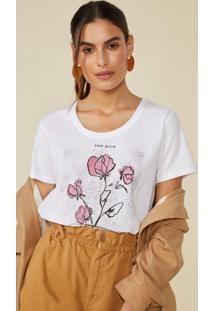 T-Shirt Amaro Keep Going Keep Loving Off-White - Branco - Feminino - Dafiti