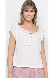 Blusa Santíssima Com Botões Feminina - Feminino-Off White