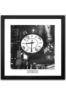 Quadro New York Relógio Kapos Preto 33X33Cm
