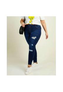 Calça Plus Size Feminina Jeans Destroyed Skinny
