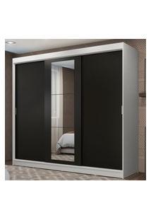 Guarda-Roupa Casal Madesa Kansas 3 Portas De Correr Com Espelho 3 Gavetas Branco