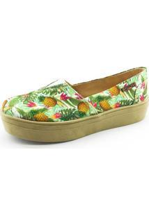 Tênis Flatform Quality Shoes Feminino 003 Abacaxi Verde Sola Caramelo 35