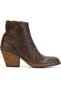 Officine Creative Ankle Boot De Couro Com Textura - Brown