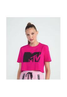 Blusa Cropped Em Algodão Estampa Logo Mtv | Mtv | Rosa | G