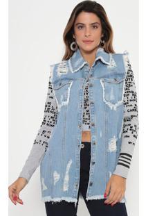 Colete Jeans Com Puídos- Azul Claro- My Favorite Thimy Favorite Things