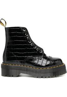 Dr. Martens Ankle Boot Sinclair Com Efeito Pele De Crocodilo - Preto