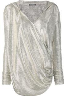 Balmain Blusa De Tricô Com Efeito Laminado - Dourado