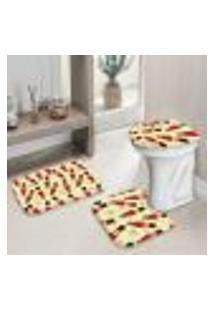 Jogo Tapetes Para Banheiro Multi Quebra Nozes Único