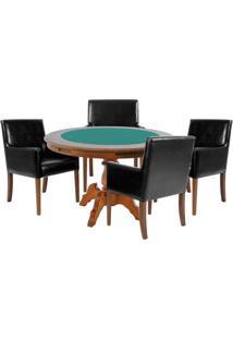 Mesa De Jogos Carteado Redonda Montreal Tampo Reversível Amêndoa Com 4 Cadeiras Liverpool Corino Preto Liso - Gran Belo