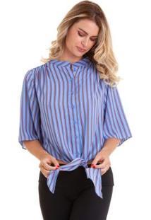 Blusa Listrada Chiffon Com Amarração Feminina - Feminino-Azul