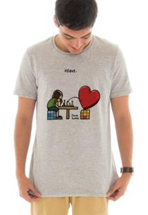 Camiseta Touts Manga Curta Xadrez Cinza
