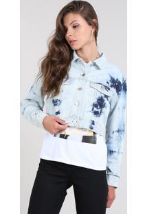 Jaqueta Jeans Feminina Com Bolsos Destroyed Azul Claro