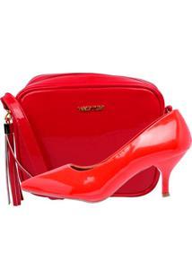 Kit Bolsa + Scarpin Factor Fashion Salto Baixo - Vermelho - Tricae