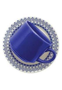 Conjunto De 6 Xícaras Grandes 200Ml Com Pires Donna Grécia Azul