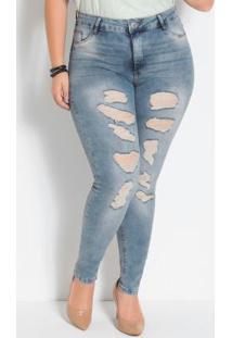 Calça Cigarrete Jeans Plus Size Sawaryy