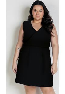 Vestido Curto Preto Com Transpasse Plus Size