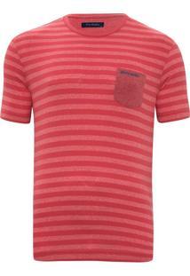 Camiseta Listrada Com Bolso Goiaba