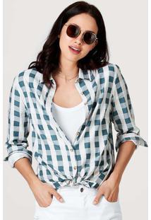 Camisa Feminina Manga Longa Estampada Em Tecido De Linho