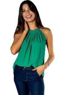 Blusa Dwz Gola Plissada Decote Quadrado Feminina - Feminino-Verde