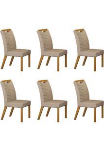 Conjunto Com 6 Cadeiras Verona Imbuia Mel E Veludo Palha