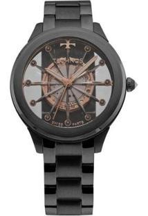 Relógio Feminino Technos Elegance F03101Ac/4W Aço - Feminino-Preto