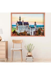 Quadro Love Decor Com Moldura Castelo Europeu Rose Metalizado Grande